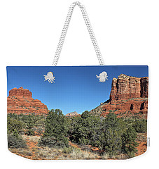 Weekender Tote Bag featuring the photograph Bell Rock And Courthouse Butte by Penny Meyers
