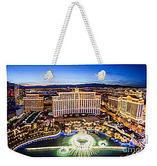 Bellagio Rountains From Eiffel Tower At Dusk Weekender Tote Bag by Aloha Art