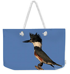 Belted Kingfisher Weekender Tote Bag by Meg Rousher