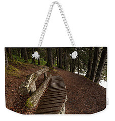 Weekender Tote Bag featuring the photograph Bench Rest by Steven Reed