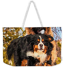 Bernese Mountain Dog And Leonberger Winter Fun Weekender Tote Bag