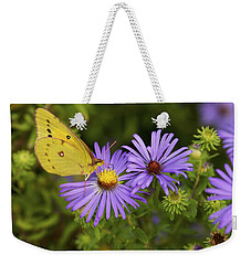 Best Friends - Sulphur Butterfly On Asters Weekender Tote Bag by Jane Eleanor Nicholas