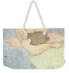 Weekender Tote Bag featuring the drawing Between Dreams by Kim Pate