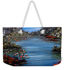 Beyond The Bridge At Lily Pond Weekender Tote Bag