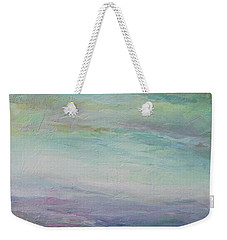 Weekender Tote Bag featuring the painting Beyond The Distant Hills by Mary Wolf