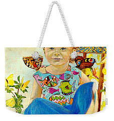 Weekender Tote Bag featuring the painting Bianka And Butterflies by Henryk Gorecki