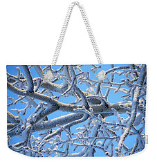 Bifurcations In White And Blue Weekender Tote Bag by Brian Boyle