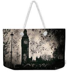 Big Ben Black And White Weekender Tote Bag