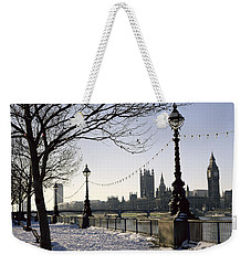 Big Ben Westminster Abbey And Houses Of Parliament In The Snow Weekender Tote Bag by Robert Hallmann