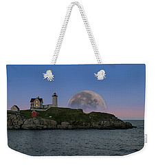 Big Moon Over Nubble Lighthouse Weekender Tote Bag