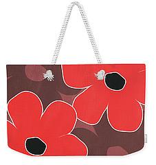 Big Red And Marsala Flowers Weekender Tote Bag