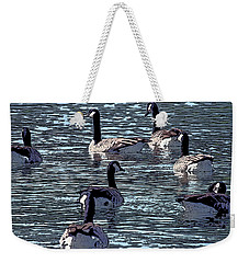Weekender Tote Bag featuring the digital art Big Spring Goose Art I   by Lesa Fine
