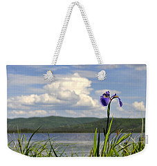 Weekender Tote Bag featuring the photograph Birch Lake Iris by Cathy Mahnke