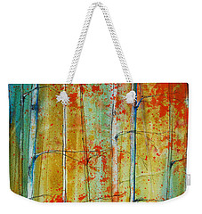 Weekender Tote Bag featuring the painting Birch Tree Forest by Jani Freimann