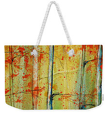Weekender Tote Bag featuring the painting Birch Tree Forest - Right by Jani Freimann