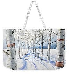 Birch Trees Along The Curvy Road Weekender Tote Bag