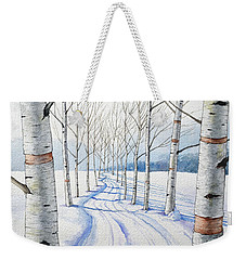 Birch Trees Along The Curvy Road Weekender Tote Bag