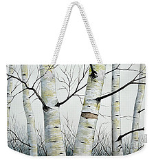Birch Trees In The Forest By Christopher Shellhammer Weekender Tote Bag
