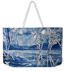 Birches In Blue Weekender Tote Bag by Ellen Levinson