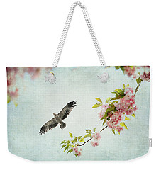 Bird And Pink And Green Flowering Branch On Blue Weekender Tote Bag by Brooke T Ryan