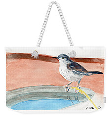 Weekender Tote Bag featuring the painting Bird Bath by C Sitton