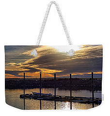Weekender Tote Bag featuring the photograph Bird - Boat - Bay by Chriss Pagani