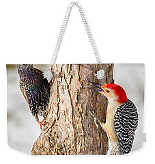 Bird Feeder Stand Off Square Weekender Tote Bag by Bill Wakeley