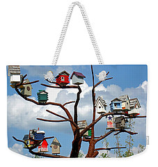 Weekender Tote Bag featuring the photograph Bird House Village by Sue Melvin
