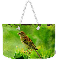 Bird In A Sunflower Field Scripture Weekender Tote Bag by Sandi OReilly