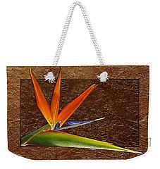 Bird Of Paradise Gold Leaf Weekender Tote Bag by Phyllis Denton