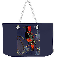 Weekender Tote Bag featuring the painting Bird On A Branch by Kathleen Sartoris