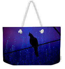 Weekender Tote Bag featuring the photograph Bird On The Wire ... by Chris Armytage