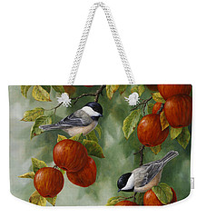 Bird Painting - Apple Harvest Chickadees Weekender Tote Bag by Crista Forest