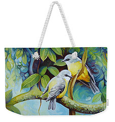 Weekender Tote Bag featuring the painting Birds by Elena Oleniuc