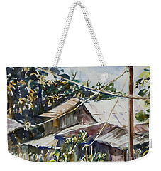 Weekender Tote Bag featuring the painting Bird's Eye View by Xueling Zou