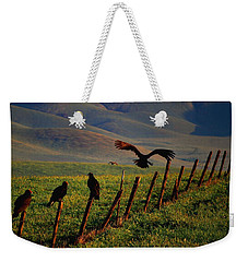Weekender Tote Bag featuring the photograph Birds On A Fence by Matt Harang