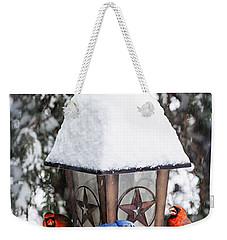Birds On Bird Feeder In Winter Weekender Tote Bag