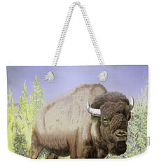 Weekender Tote Bag featuring the digital art Bison On The Range by Thomas J Herring
