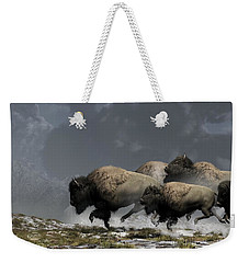Bison Stampede Weekender Tote Bag by Daniel Eskridge