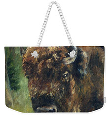 Bison Study - Zero Three Weekender Tote Bag by Lori Brackett