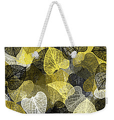 Black And Gold Leaf Pattern Weekender Tote Bag