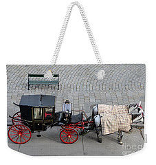 Weekender Tote Bag featuring the photograph Black And Red Horse Carriage - Vienna Austria  by Imran Ahmed