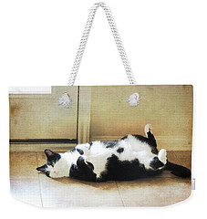 Black And White Cat Reclining Weekender Tote Bag