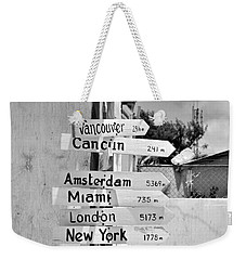 Black And White Directional Sign Weekender Tote Bag
