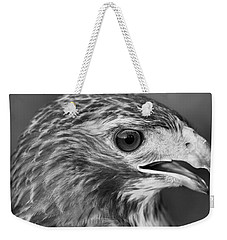 Black And White Hawk Portrait Weekender Tote Bag by Dan Sproul