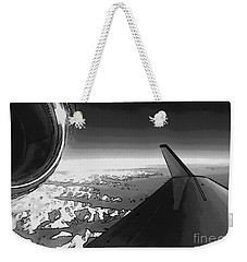 Weekender Tote Bag featuring the photograph Jet Pop Art Plane Black And White  by R Muirhead Art