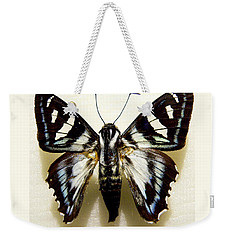 Weekender Tote Bag featuring the photograph Black And White Moth by Rosalie Scanlon
