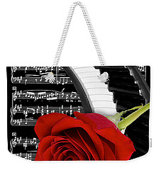 Black And White Music Collage Weekender Tote Bag by Phyllis Denton