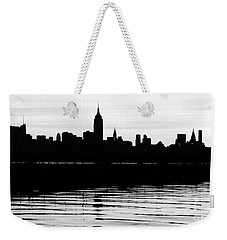 Weekender Tote Bag featuring the photograph Black And White Nyc Morning Reflections by Lilliana Mendez