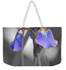 Black And White Purple Iris Weekender Tote Bag